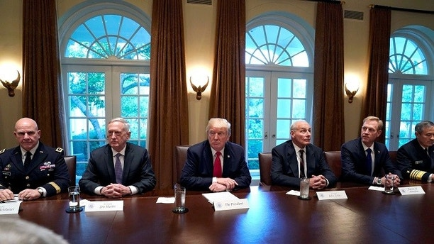 U.S. President Donald Trump participates in a briefing with senior military leaders at the White House in Washington U.S