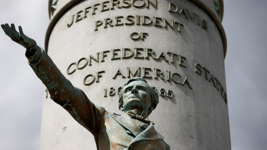 The statue of Jefferson Davis, president of the Confederate States of America, stands in Richmond, Virginia