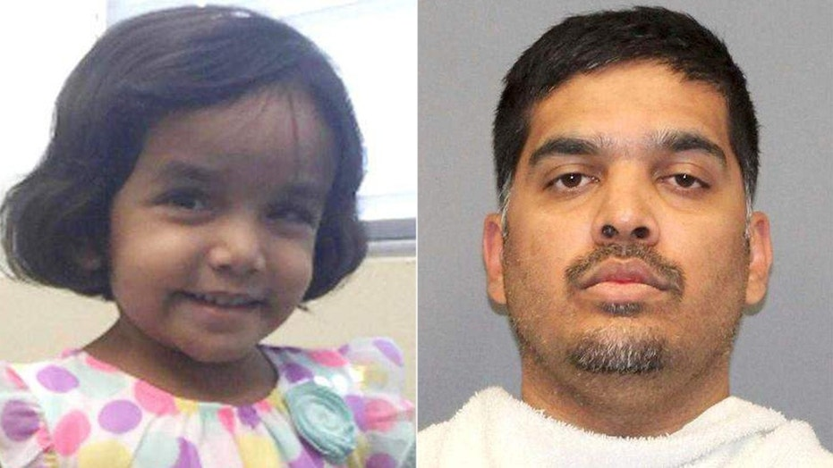 Three-year-old Sherin Mathews, and her father Wesley Mathews.