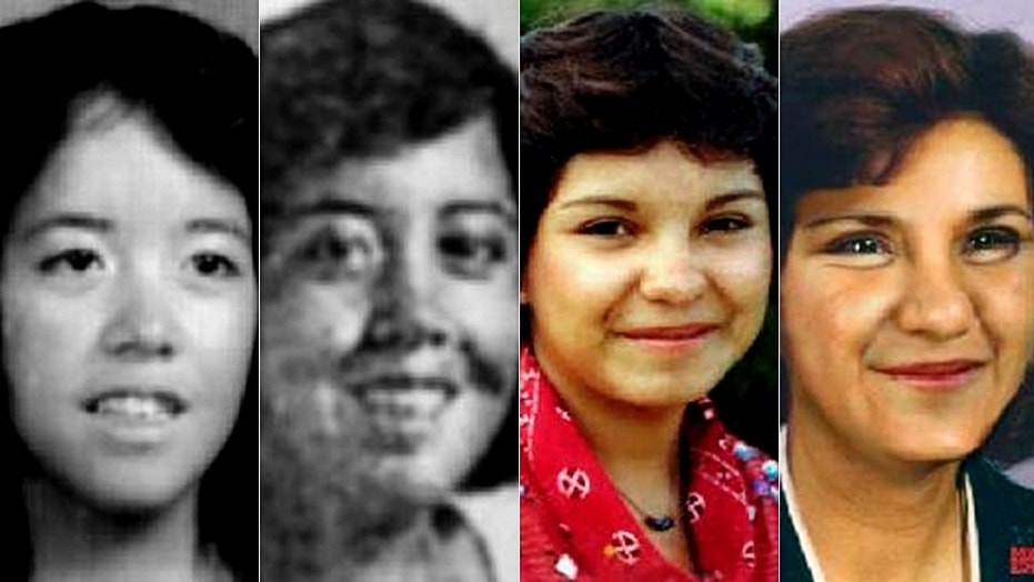Yvonne Mestas, left, and Victoria Sanchez, right, are pictured alongside age-progressed images, to the right of the original photos, of what the teens might look like if alive today.
