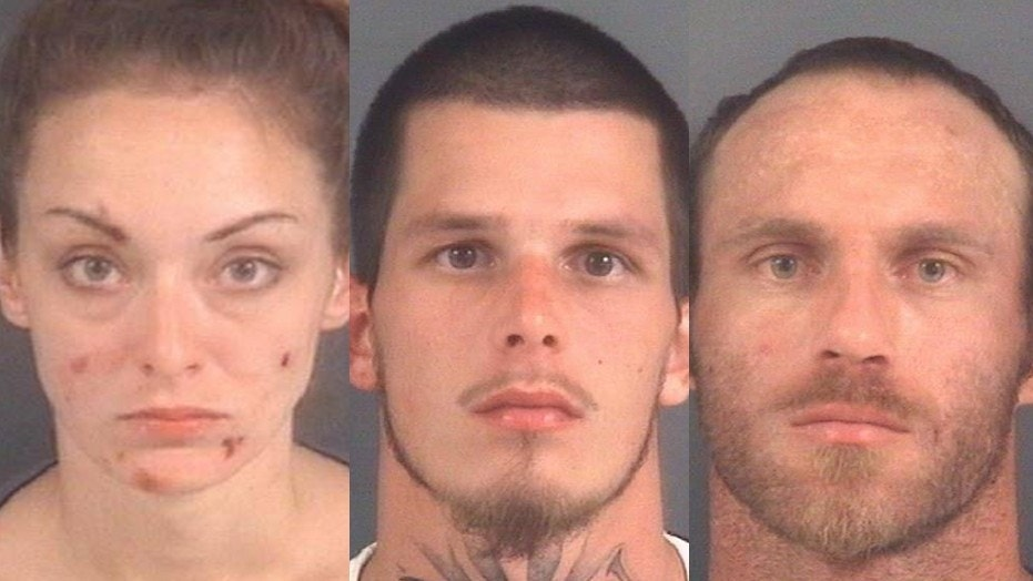 "Ashley Fisher (L-R), Randy Holmes Jr., and Robert Harr were arrested after police found them in a vehicle deemed to be a ""mobile meth lab."""