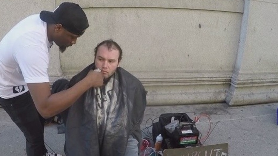 Brennon Jones provides free hair cuts to homeless people in Philadelphia.
