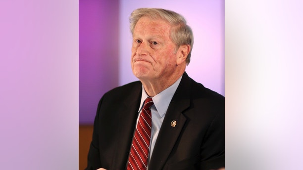 FSU President John Thrasher gestures after announcing the suspension of all Greek life activities at the university following the death at a Pi Kappa Phi fraternity pledge, during a news conference at the university in Tallahassee, Fla., Monday, Nov. 6, 2017. Andrew Coffey, a pledge at Pi Kappa Phi, died Friday after he was found unresponsive following a party. (Joe Rondone/Tallahassee Democrat via AP)