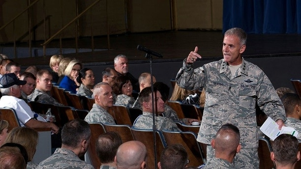 Lt. Gen. Jay Silveria, superintendent of the U.S. Air Force Academy, discusses his goals and priorities to an audience of Total Force Airmen at the United States Air Force Academy in Colorado, U.S. on August 17, 2017.   Courtesy Mike Kaplan/U.S. Air Force/Handout via REUTERS   ATTENTION EDITORS - THIS IMAGE HAS BEEN SUPPLIED BY A THIRD PARTY. - RC1FFF45CCB0