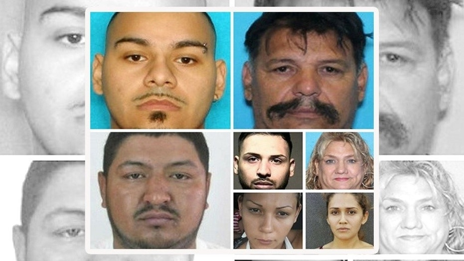 (From left to right) William Alberto Lopez, Raul Moreno-Reyna, Juan Carlos Contreras-Cervantes, Walter Lopez, Melisa Bazan Dominguez, Andalit Durate, Claudia Jackely Soriano-Hernandez and Israel Juarez Sifuentes (not pictured) were wanted by the FBI for sex and drug trafficking.