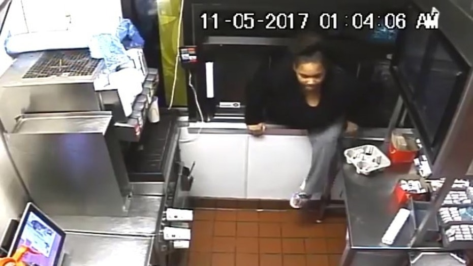 Police in Maryland are looking for a woman who broke into a McDonald's drive-thru and stole food and cash.
