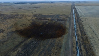 This aerial photo shows spills from TransCanada Corp.'s Keystone pipeline, Friday, Nov. 17, 2017, that leaked an estimated 210,000 gallons of oil onto agricultural land in northeastern South Dakota, near Amherst, S.D., the company and state regulators said Thursday, but state officials don't believe the leak polluted any surface water bodies or drinking water systems. Crews shut down the pipeline Thursday morning and activated emergency response procedures after a drop in pressure was detected resulting from the leak south of a pump station in Marshall County, TransCanada said in a statement. The cause was being investigated. (DroneBase via AP)
