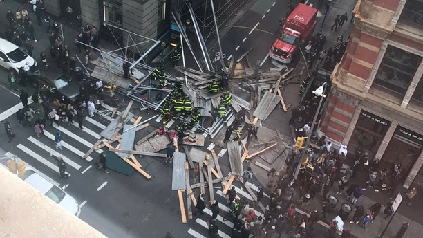 Scaffolding collapses in Soho