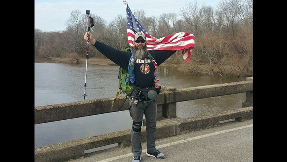 Cpl. Stephens of Canton, Georgia plans to start his trek at Camp Lejune in North Carolina and hopes to make the 220-mile journey to Virginia Beach in just ten days to raise awareness about the high amount of suicides among military veterans