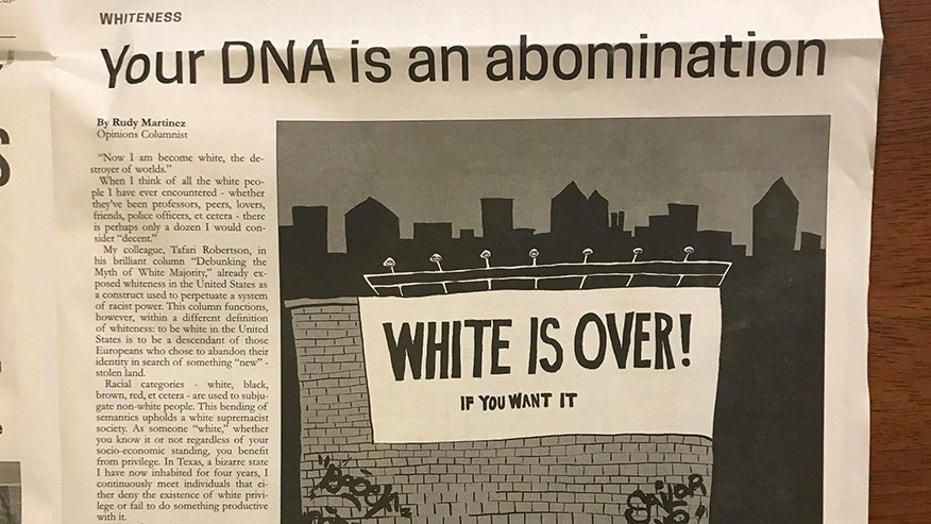 "Texas State University's student newspaper has been criticized for running a column on how being white is ""an abomination."""