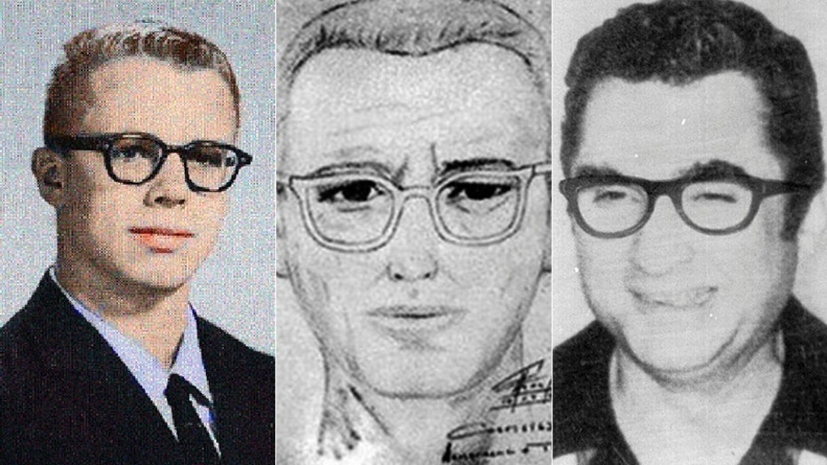 Two major Zodiac suspects, Ross Sullivan (L) and Lawrence Kane, alongside a police sketch of the enigmatic serial killer.