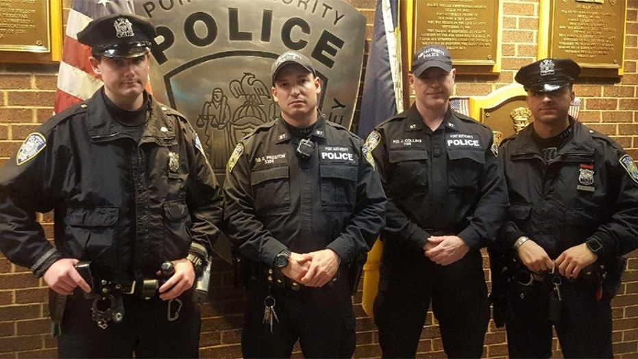 Port Authority Police officers Sean Gallagher, left, Drew Preston, Jack Collins, and Anthony Manfredini.