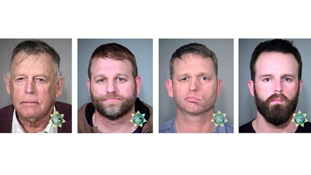 FILE - This undated combination of file photos provided by the Multnomah County, Ore., Sheriff's Office shows from left; Nevada rancher Cliven Bundy and his sons Ammon Bundy and Ryan Bundy and co-defendant Ryan Payne. There is talk of a possible mistrial in the prosecution of the defendants accused of leading an armed standoff that stopped a federal roundup of cattle in Nevada in 2014. Proceedings are scheduled to resume Wednesday, Dec. 20, 2017, in federal court in Las Vegas for Cliven, Ryan and Ammon Bundy and Payne amid defense allegations that prosecutors and government agents failed to properly turn over evidence before trial began in November. (Multnomah County Sheriff's Office via AP, File)