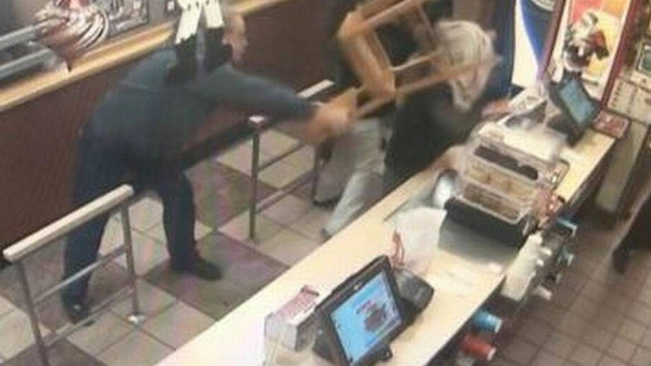 An attempted robbery was prevented at a Wendy's in California after a man hit the thief over the head with a chair, reports said.