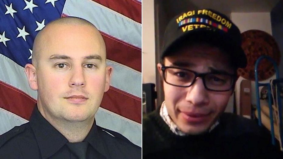 Deputy Zackari Parrish, 29, (left) was killed after Matthew Riehl, 37, (right) fired more than 100 rounds from his apartment.