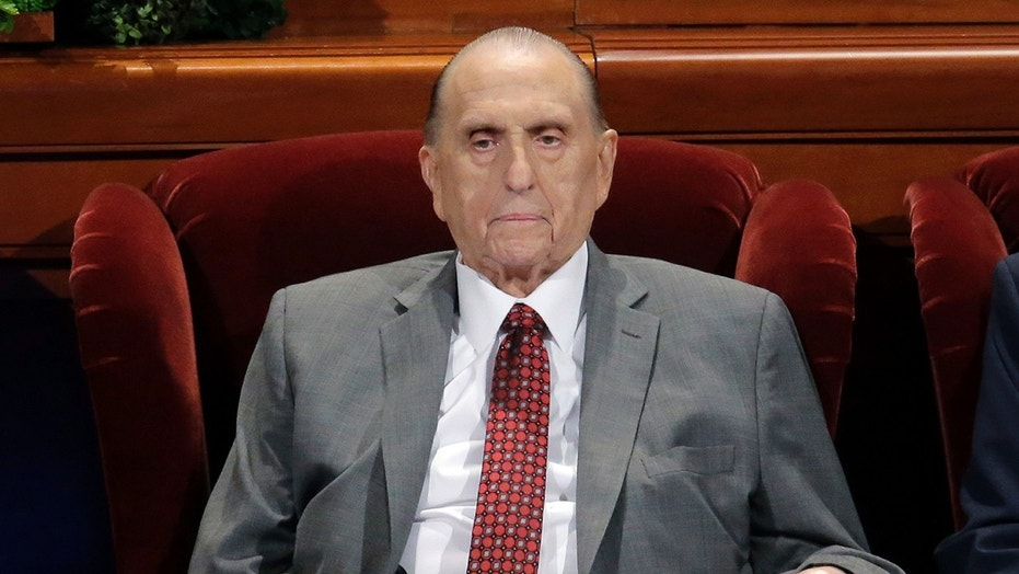 April 1, 2017: Thomas M. Monson, president of the Church of Jesus Christ of Latter-day Saints, at the two-day Mormon church conference in Salt Lake City.