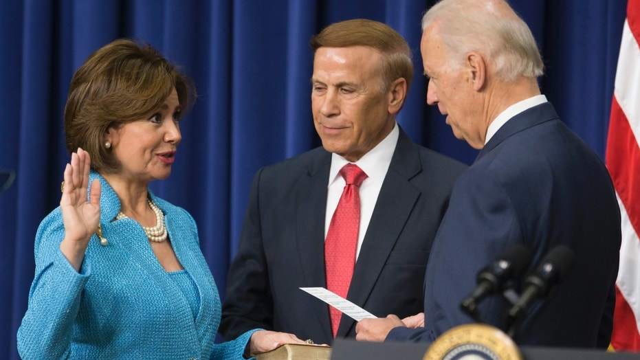 Maria Contreras-Sweet is sworn in as administrator of the Small Business Administration by then-Vice President Joe Biden in 2014.