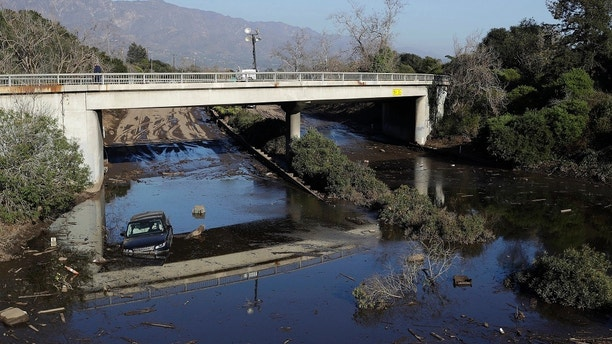 California mudslides sweep away auto  in shocking video caught by firefighters