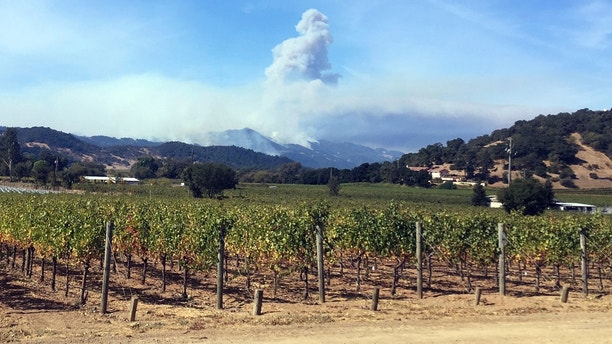 Smoke continues to billow in the hills behind Napa, Calif., on Sunday, Oct. 15, 2017. With the winds dying down, fire officials said Sunday they were finally getting the upper hand against the wildfires that have devastated California wine country and other parts of the state over the past week, and thousands of people got the all-clear to return home. (AP Photo/John Mone)