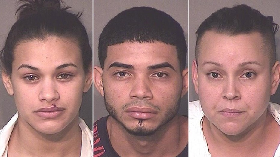 Mug shots for Glorianmarie Quinones Montes, 22, Alexis Ramos-Rivera, 22, and Ishanr Lopez-Ramos, 35,