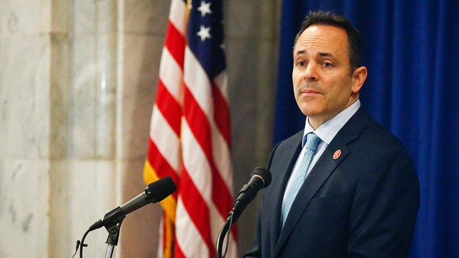 Kentucky Gov. Matt Bevin announces federal approval of Kentucky's Medicaid waiver in the Capitol Rotunda in Frankfort, Ky., Friday, Jan. 12, 2018.