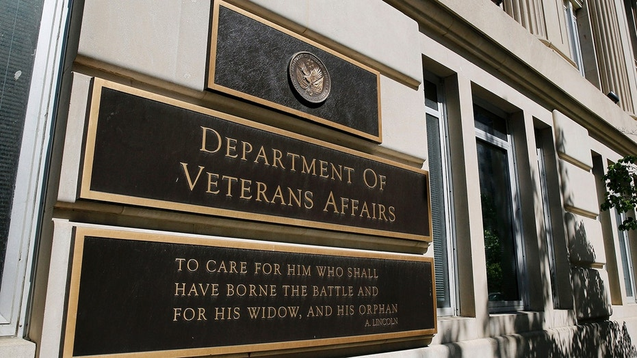 The sign of the Department of Veteran Affairs is seen in front of the headquarters building in Washington, May 23, 2014.