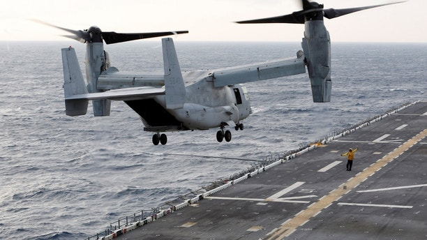 A MV-22 Osprey ferrying an initial group of Marines bound for islands ravaged by Hurricane Maria takes off at sunrise from the flight deck of the USS Kearsarge as operations to assist hurricane-ravaged St. Croix and Puerto Rico begin, in the Caribbean Sea, September 21, 2017.  REUTERS/Jonathan Drake - RC127333B070
