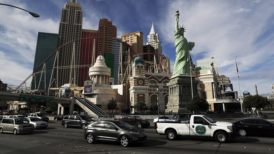 """File Feb. 21, 2017: The New York New York hotel and casino on the Las Vegas Strip. Bandits have gotten away with cash and chips from four casino-hotels in Las Vegas since last week, leaving police on the hunt for multiple suspects. """"It's unusual,"""" Las Vegas Metropolitan Police Lt Michael Mauntel said of the frequency of the robberies since Nov. 2017."""