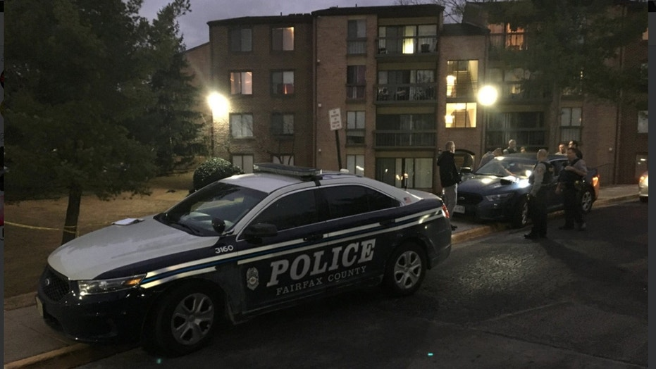 A man was assaulted and set on fire Sunday by a group of men at an apartment complex in Fairfax County, Va.