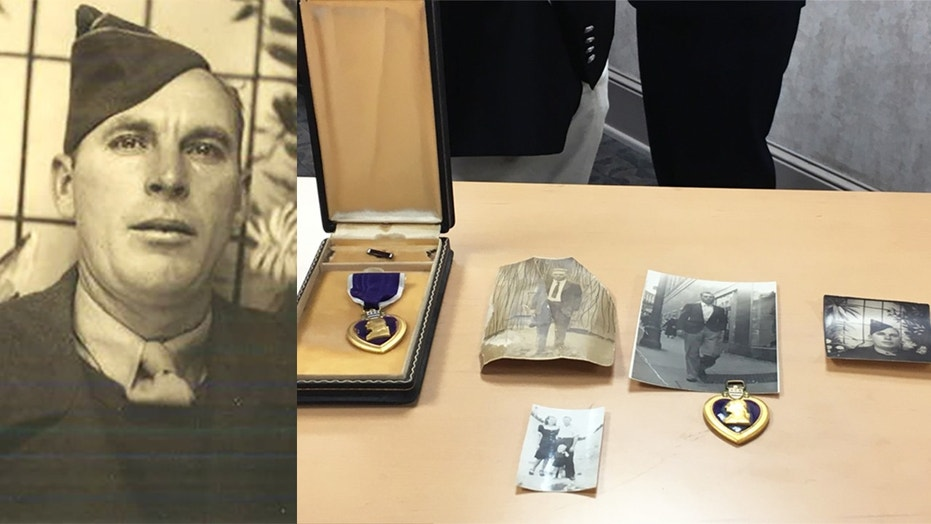 Claude Parris in military uniform (left) and his Purple Heart and other momentos (right).