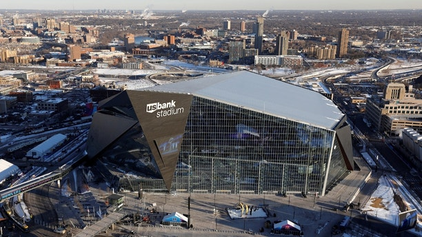 U.S. Bank Stadium, venue of this year's Super Bowl, as seen from a Department of Homeland Security Blackhawk helicopter that will be patrolling the skies during the game in Minneapolis, Minnesota, U.S. January 29, 2018.  REUTERS/Kevin Lamarque - RC1A9DA01100