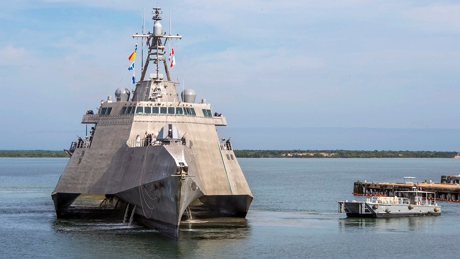 The USS Omaha, a 218-foot-long littoral combat ship, pier side during a brief fuel stop in Guantanamo Bay, Cuba on Jan. 3, 2018.