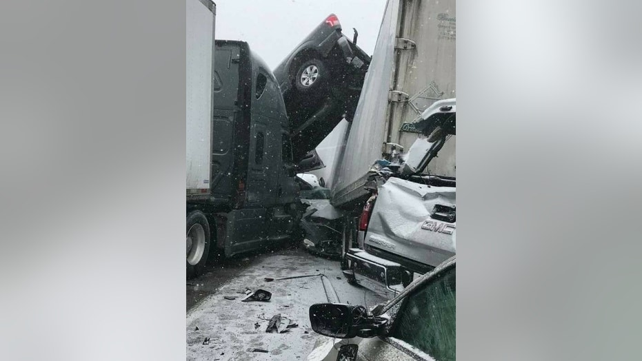 At least one person was killed and 11 others wounded when icy road conditions caused multiple accidents on Interstate 44 in Missouri on Sunday.