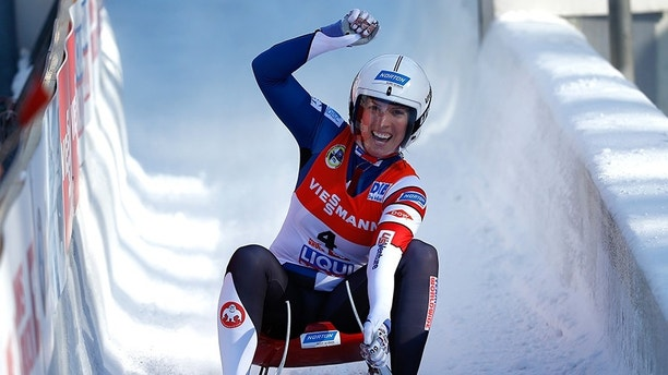 Luge - FIL World Luge Championships - Women's Race - Innsbruck, Austria - 28/01/17 - Erin Hamlin of the U.S. reacts at the finish. REUTERS/Dominic Ebenbichler - LR1ED1S0W963G