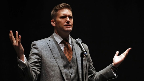 White Nationalist Richard Spencer Thursday, Oct. 19, 2017, at the University of Florida in Gainesville, Fla. (AP Photo/Chris O'Meara)