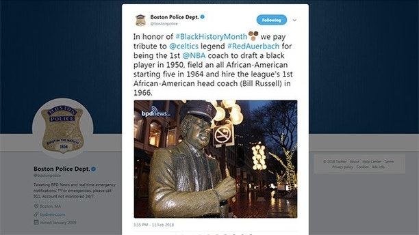Boston PD tweets Black History Month tribute to Red Auerbach