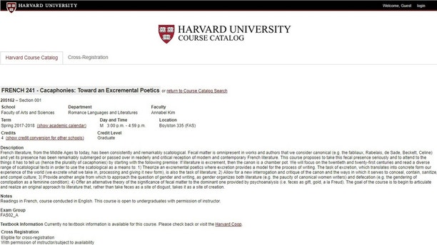 Harvard University Feces Course