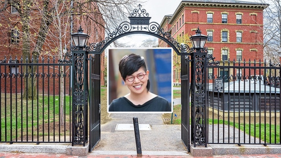 Professor Annabel Kim, pictured in front of the entrance gate into Harvard Yard in Harvard University.