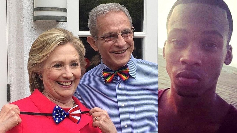 Democratic donor Ed Buck is seen at left in the fall of 2015 with Hillary Clinton. Gemmel Moore, at right, was found dead inside Buck's apartment on July 27, 2017.