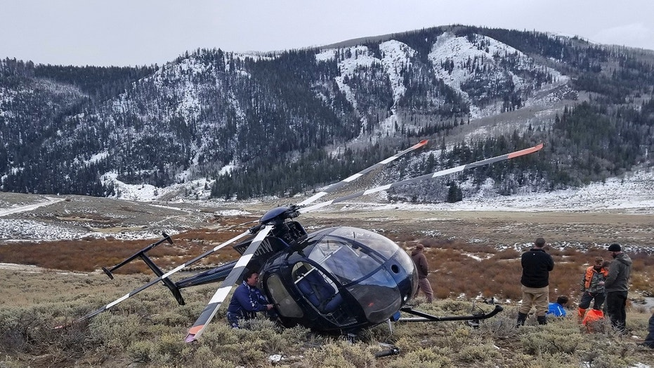 FILE Feb. 12, 2018: A research helicopter was brought down by a leaping elk in the mountains of eastern Utah. Wasatch County authorities say the elk jumped into the chopper's tail rotor as the craft flew low, trying to capture the animal with a net. The two people on board weren't seriously hurt, but wildlife officials say the elk died of its injuries. The state-contracted Australian crew had been trying to capture and sedate the elk so they could collar it and research its movements about 90 miles east of Salt Lake City.