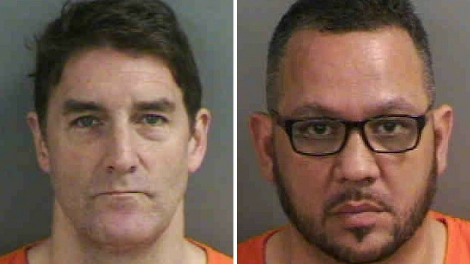 Actor Patrick J. Boll, left, and Richard Cecil, a pastor, were arrested as part of a prostitution operation Friday, Feb. 9, 2018.