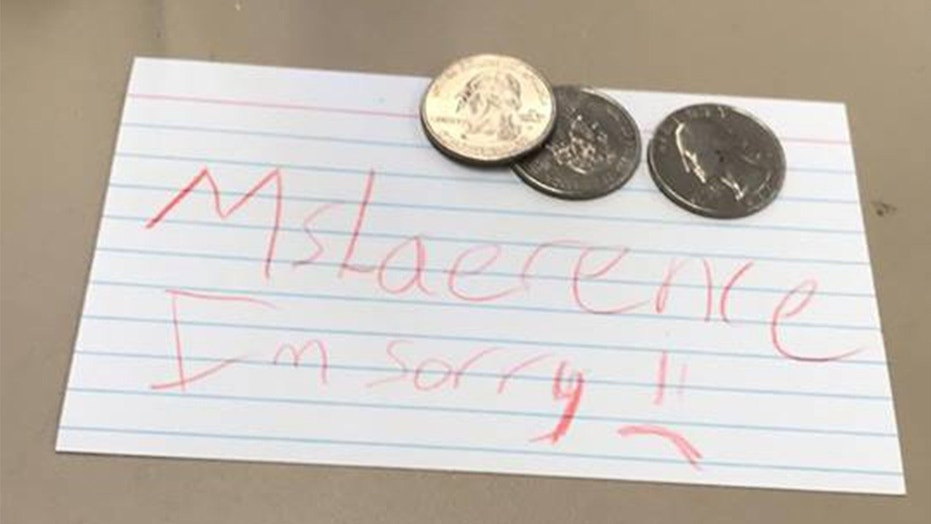 Price Lawrence said his 6th-grade student gave him this note and ice cream money to help pay for his father-in-law's funeral.