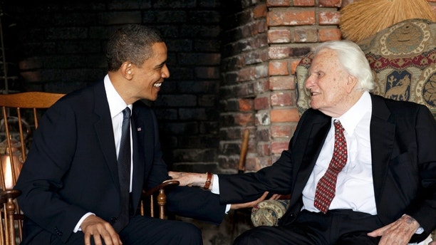 U.S. President Barack Obama meets with the Rev. Billy Graham at his house in Montreat, North Carolina, in this handout photograph taken and released on April 25, 2010. REUTERS/Pete Souza/The White House/Handout (UNITED STATES - Tags: RELIGION POLITICS) FOR EDITORIAL USE ONLY. NOT FOR SALE FOR MARKETING OR ADVERTISING CAMPAIGNS - GM1E64Q0DR001
