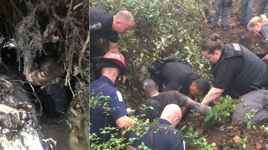Georgia police rescue fleeing suspect from drainage ditch | Fox News