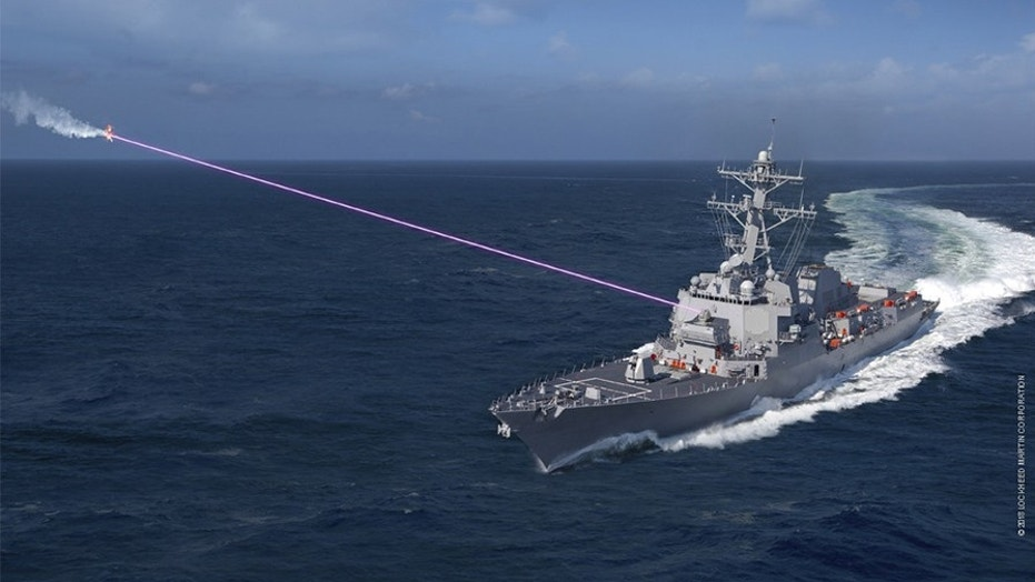 This artist's rendering shows a new ship-based high-powered laser weapon that the Navy and Lockheed Martin have designed.