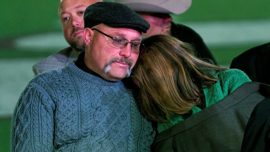 Nov. 8, 2017: Frank Pomeroy, pastor of First Baptist Church of Sutherland Springs and his wife Sherri attend a prayer vigil for the church shooting victims in Floresville, Texas.