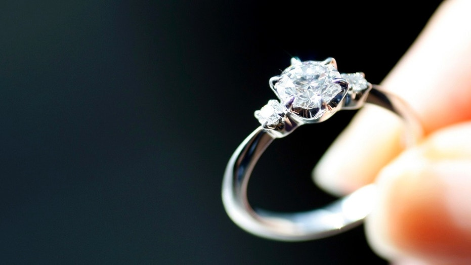 An engagement ring is displayed at a jewelry store in Tokyo, Japan, June 2, 2009.