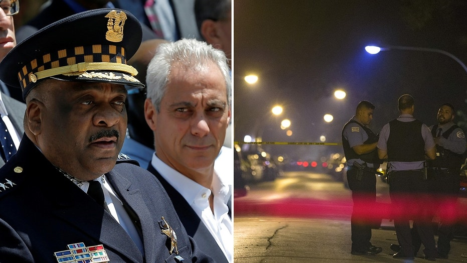 "Chicago Police Superintendent Eddie Johnson, left, with Mayor Rahm Emanuel, says the city is making ""real progress"" in fighting crime since a high of 771 murders in 2016."
