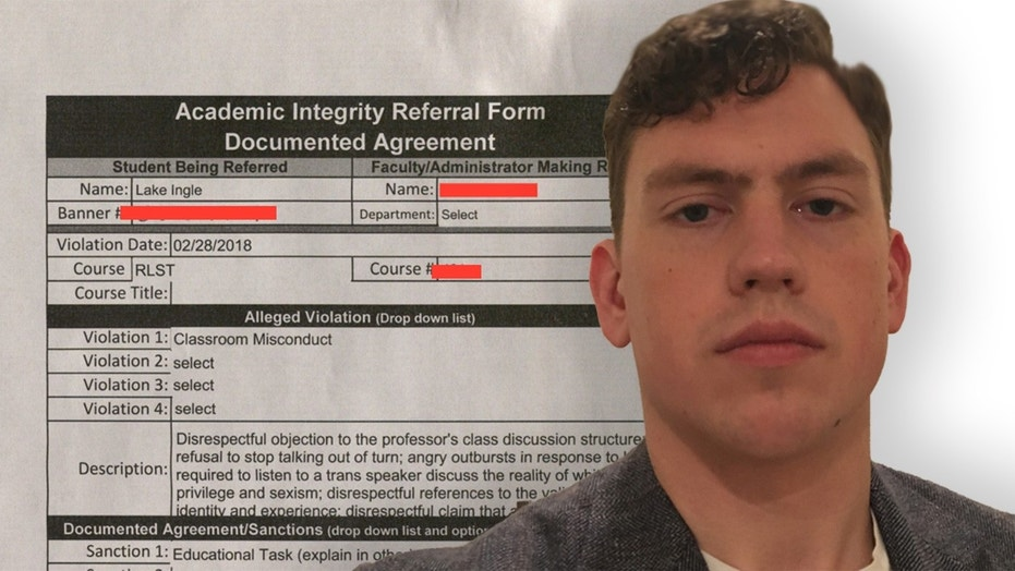 Indiana University of Pennsylvania student, Lake Ingle, was barred from class for speaking as a man and refuting his professor's claims.