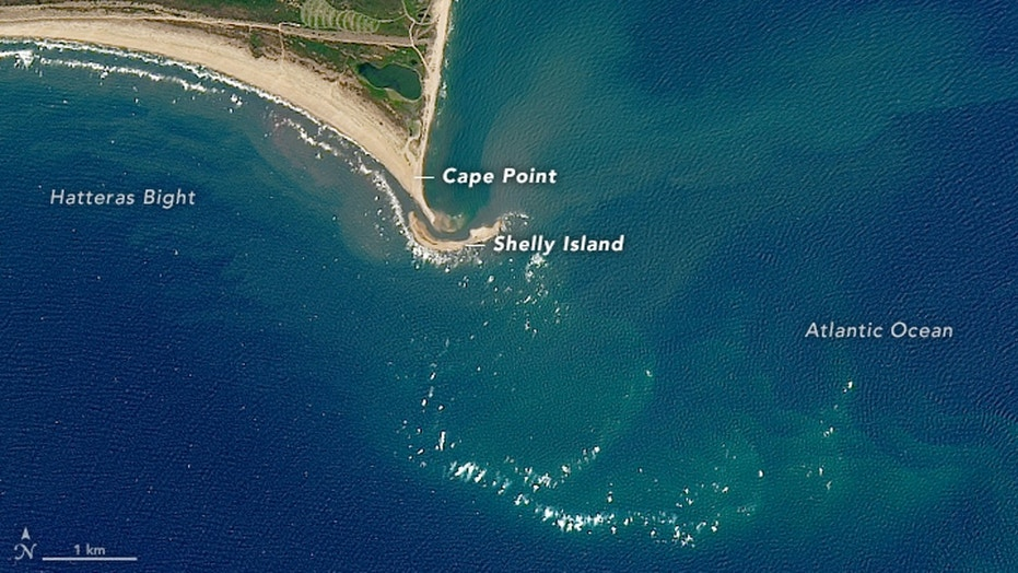 """""""Shelly Island"""" disappeared after being battered by winter storms, the National Park Service said."""